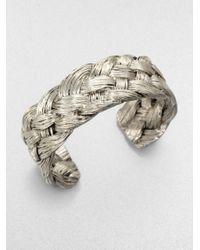 Aurelie Bidermann - Metallic Braided Cuff Bracelet - Lyst