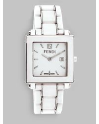 Fendi | White Ceramic Square Case Watch | Lyst