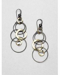 Ippolita - Metallic 18k Gold Blackened Sterling Silver Long Link Earrings - Lyst