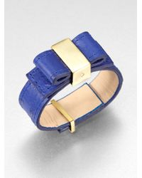 kate spade new york - Metallic Ostrich Stamped Leather Bow Bracelet - Lyst