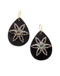 Kevia - Black Horn Blue Topaz Teardrop Earrings - Lyst