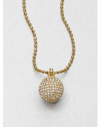 Michael Kors - Metallic Pavé Ball Pendant Necklacegoldtone - Lyst