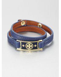 Tory Burch | Blue Logo Plaque Double Wrap Leather Bracelet | Lyst