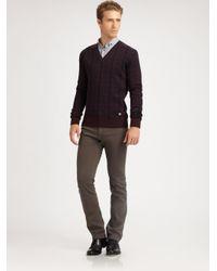 Versace | Purple Jacquard Printed V-Neck Sweater for Men | Lyst