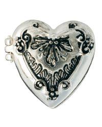 River Island - Metallic Engaved Heart Locket Ring - Lyst