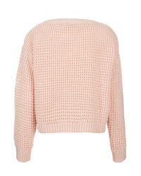 TOPSHOP | Pink Knitted Textured Crop Jumper | Lyst
