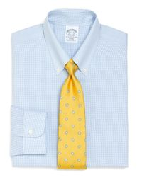 Brooks Brothers | Blue Supima Cotton Noniron Slim Fit Shadow Check Dress Shirt for Men | Lyst