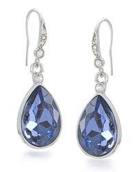 Carolee - Gray Silvertone And Royal Blue Teardrop Earrings - Lyst