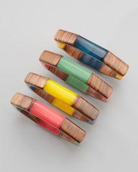 Chamak by Priya Kakkar - Multicolor Wooden Bangles - Lyst