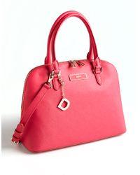 DKNY | Pink Saffiano Leather Satchel Bag | Lyst