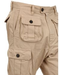 DSquared² | Beige Dyed Military Cargo Cotton Canvas Shorts for Men | Lyst