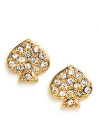 kate spade new york | Metallic Signature Spade Crystal Stud Earrings | Lyst