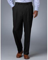 Lauren by Ralph Lauren - Black Midweight Pleated Wool Trouser Pants for Men - Lyst