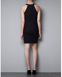 Zara | Black Jacquard Tube Dress | Lyst