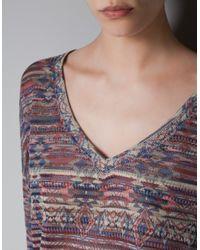 Zara   Purple Ethnic Print Tshirt   Lyst