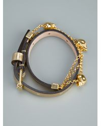 Alexander McQueen - Metallic Skull and Chain Bracelet - Lyst