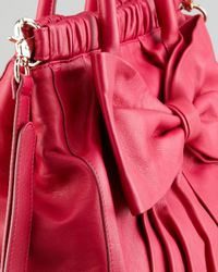 RED Valentino - Red Calfskin Bow Satchel Bag - Lyst
