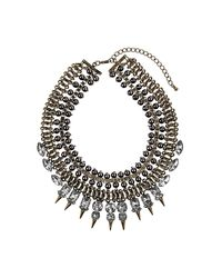 TOPSHOP | Gray Box Spike Mesh Necklace | Lyst
