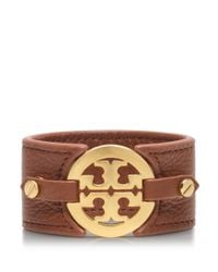 Tory Burch - Brown Logo Wide Double Snap Cuff - Lyst