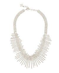 BCBGMAXAZRIA - White Art Deco Pave Necklace - Lyst