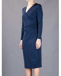 Burberry | Blue Vneck Dress | Lyst