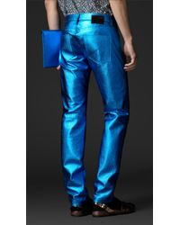 Burberry Prorsum | Blue Metallic Leather Jeans for Men | Lyst
