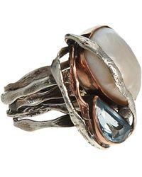 Sandra Dini - Metallic Large Natural Pearl Aquamarine Ring - Lyst