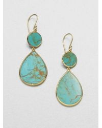 Ippolita - Blue Polished Rock Candy Turquoise & 18k Yellow Gold Snowman Drop Earrings - Lyst