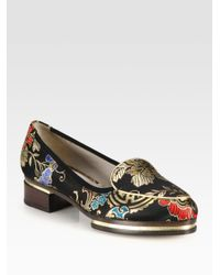 Jason Wu | Black Brocade and Metallic Leather Stacked Loafers | Lyst