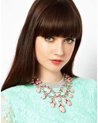 ASOS - Pink Premium Jewelled Bib Necklace - Lyst