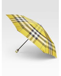 Burberry Yellow Check Trafalgar Packable Folding Umbrella