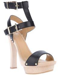 DSquared² Black Wood Platform Heeled Sandal