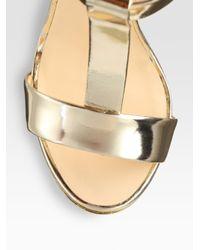 Giuseppe Zanotti | Metallic Leather Curvedwedge Tstrap Sandals | Lyst
