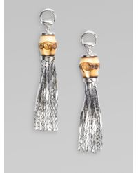 Gucci | Metallic Sterling Silver Bamboo Earrings | Lyst