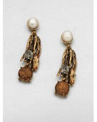Oscar de la Renta - Metallic Stone Embellished Drop Earrings - Lyst