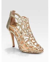 Oscar de la Renta   Gladia Artistic Metallic Leather Sandals   Lyst