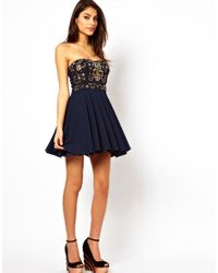 TFNC London - Blue Prom Dress with Jewel Bustier - Lyst