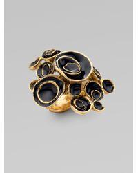 Saint Laurent   Black Arty Flower Ring   Lyst