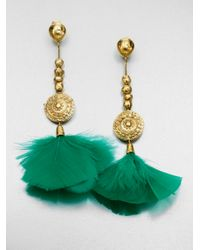 Aurelie Bidermann - Green Cite Dor Feather Earring - Lyst