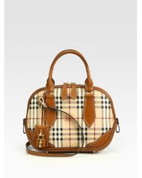 Burberry Brown Orchard Small Mixedmedia Haymarket Bowling Bag