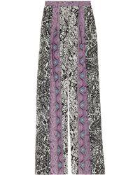 Etro | Black Printed Silk-georgette Wide-leg Pants | Lyst