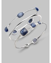 Ippolita | Blue Sterling Silver Kyanite Cabochone Bangle Bracelet | Lyst