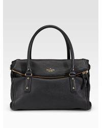 kate spade new york - Black Leslie Foldover Top Handle Bag - Lyst