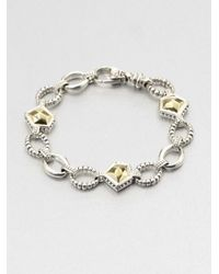 Lagos | Metallic 18k Gold and Sterling Silver Rock Link Bracelet | Lyst