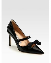Manolo Blahnik - Black Patent Leather Mary Jane Bow Pumps - Lyst