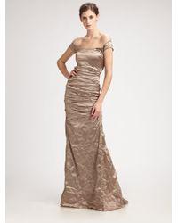 Nicole Miller | Off -the-shoulder Metallic Gown | Lyst