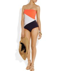 ROKSANDA Orange Rodez Colorblock Bandeau Swimsuit