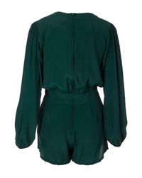 TOPSHOP - Green Jet Playsuit By Motel - Lyst