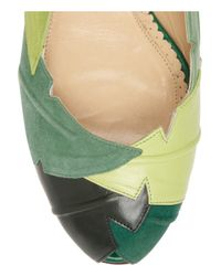 Charlotte Olympia Green Berverly Suede and Leather Ballet Flats