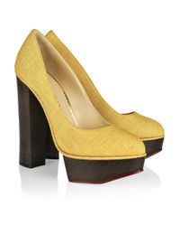 Charlotte Olympia | Yellow Bebel Textured Cotton Platform Pumps | Lyst